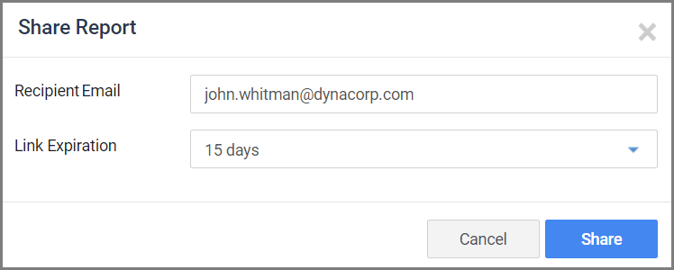 User entering recipient email and link expiration duration to share the report