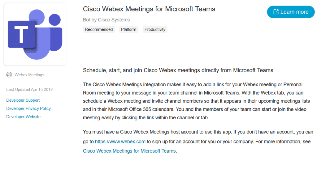 Answer to the question about Microsoft and cisco webex meeting