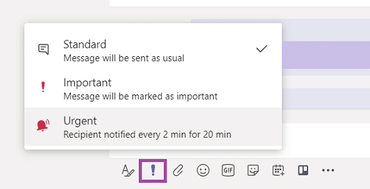 Send urgent chat notifications in MS Teams. Source: support.microsoft.com