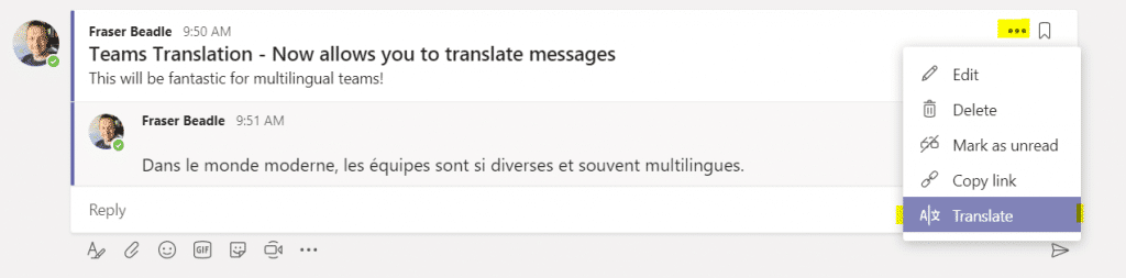 Translate messages in MS Teams. Source: collab365.community