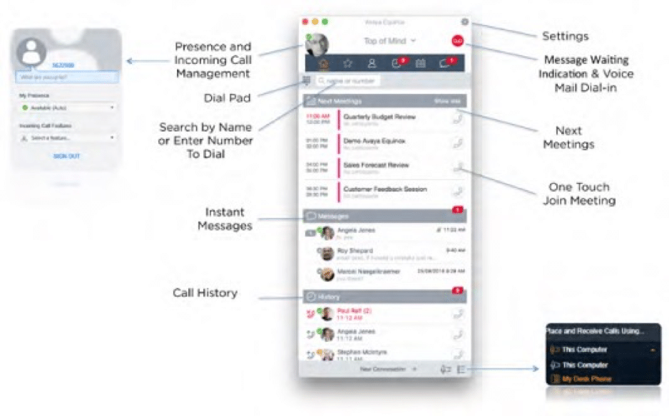 Avaya IX Workplace User Interface