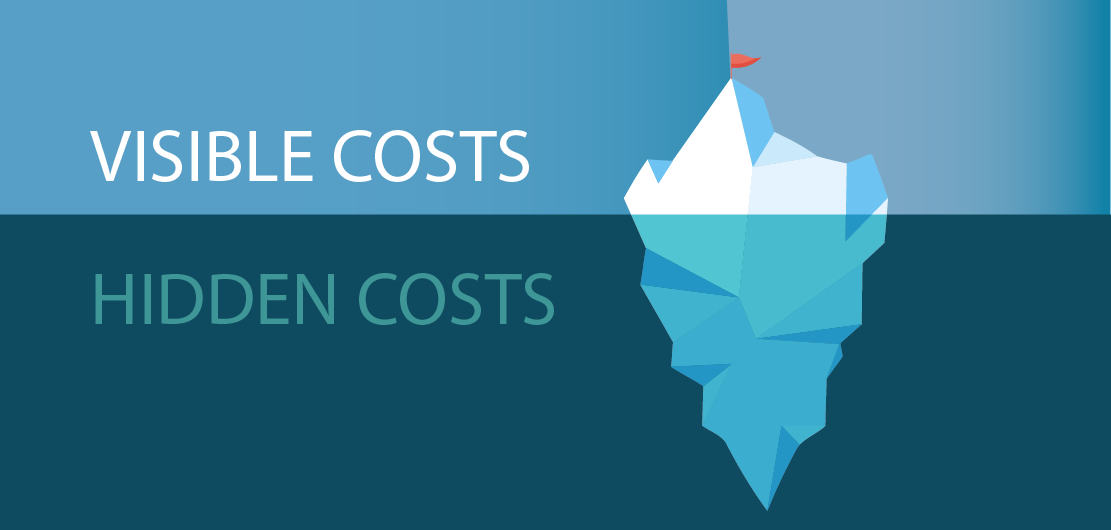 Iceberg metaphor of costs of guest accounts